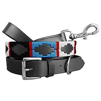 Carlos diaz genuine leather matching pair waxed embroidered polo dog collar and lead set cdplc50