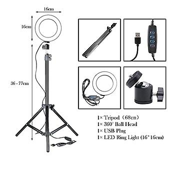Dimmable Led Ring-light With Tripod For Camera-photo-studio/photography/video/makeup/youtube/vk/smobile-phone-slefie