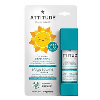 Attitude Family Face Stick Sunscreen SPF30 100% Mineral Fragrance Free, 0.65 Oz