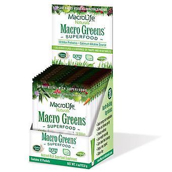 Macrolife Naturals Macro Greens Nutrient-Rich Super Food Supplement, 12 packets