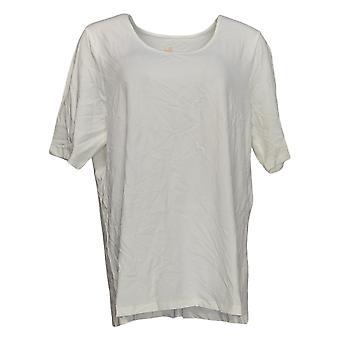 Belle por Kim Gravel Women's Top Elbow Sleeve Scoop Neck White A291216