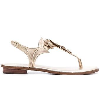 Michael Kors Flora Gold Leder Flip Flops Sandale