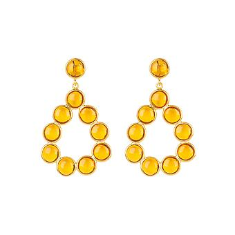 Gemstone Statement Earrings Gold Citrine Yellow Drop Circle Stud Dangle 925 Gift