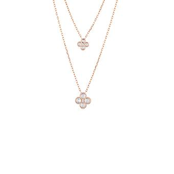 Pink Flower Clover CZ Bridal Jewellery Rose Gold Double Layered Necklace Pendant