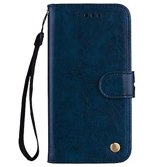 For Xiaomi  Redmi 5A Business Style Oil Wax Texture Horizontal Flip Leather Case with Holder & Card Slots & Wallet & Lanyard(Blue)
