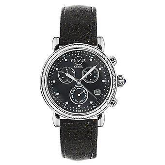 GV2 Marsala Women's MOP Black Dial SS Black Calfskin Leather Watch