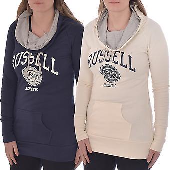 Russell Athletic Womens Long Line Funnel Neck Pullover Hoodie Sweatshirt Top