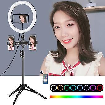 """PULUZ 1,1 m stativmontering + dobbelt telefonbeslag+ 11,8"""" 30 cm buet overflade RGB-skærm, der kan dæmpes LED LED-led-ring med to farver, der vlogging videolys li"""