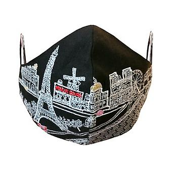 Paris Embroidered Skyline Fashionable Face Mask