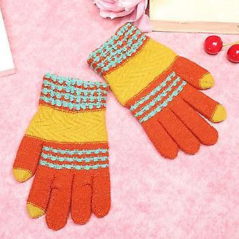 子供たちは冬の暖かい手袋スタイリッシュなストライプ手袋を編む