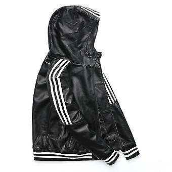 Men Leather Jacket Hood Natural Sheepskin White Stripes Real