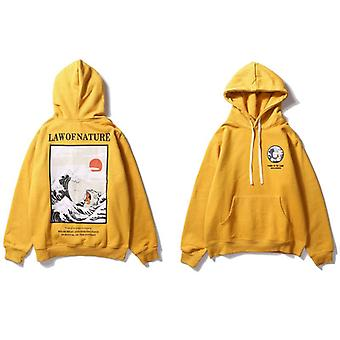Embroidery Cat Wave Printed Fleece Hoodies, Winter Style, Hip Hop Casual