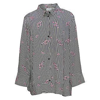 Joan Rivers Women's Plus Top Floral Striped Shirt Black / White A309290