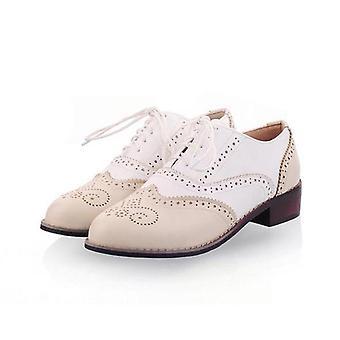Vintage Pu Lace Up Flat Oxfords, Big Storlek 34-43 Ladies Casual Flat Oxford Skor