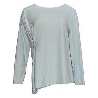 Elizabeth & Clarke Women's Top Knit 3/4 Sleeve Cinched Waist Blue A368594