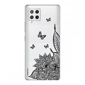 Scafo per Samsung Galaxy A42 5g Silicone Morbido 1 mm, Fiore mandala e farfalla nera