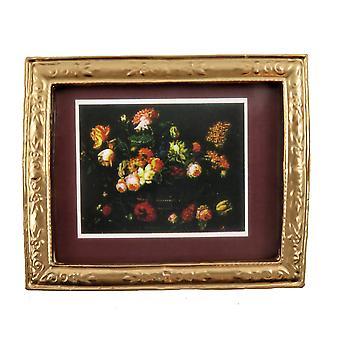 Puppen Haus Blume Bild Burgund Mount In Gold Rahmen 01:12 Miniatur Zubehör