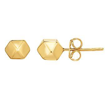 ك 14 الذهب الأصفر متعدد الهرم ومسدس السرد المرصع بالتصميم