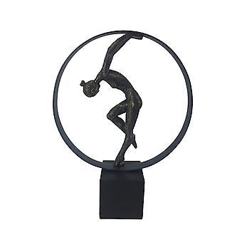 Escultura circular de poliresina decorativa con bailarina, bronce y cobre