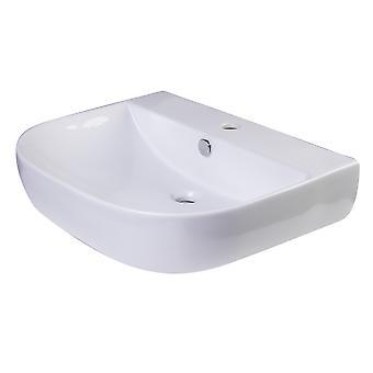"Alfi Brand Ab111  24"" White D-Bowl Porcelain Wall Mounted Bath Sink"