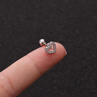 Floral Star Heart, Cross Flower Crown Bar, Cartilage Piercing Stud, Helix