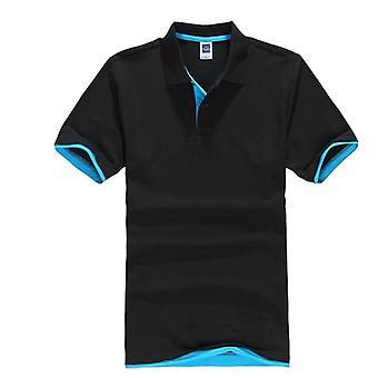 Καλοκαιρινό κλασικό πουκάμισο πόλο, στερεό κοντό μανίκι βαμβακιού ατόμων, αναπνεύσιμος,