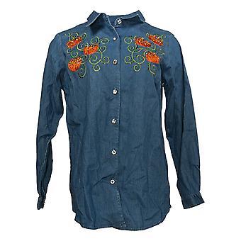 Quacker Factory Women's Top Collared Long Sleeve Denim Blue A294773