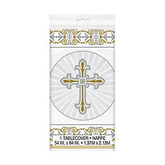 Unique Party Silver Radiant Cross Design Plastic Christening Tablecover