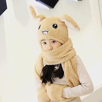 3 In 1 Scarf Hat Glovest Air Float Filling Ear Moving Cap
