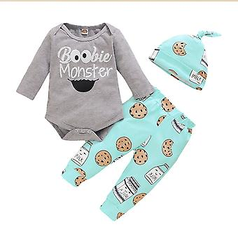Cotton Printed Newborn Baby Clothes Sets Winter Long Sleeve Bodysuits Pants Hat