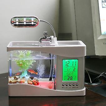 Δεξαμενή ψαριών επιφάνειας εργασίας με το οδηγημένο ρολόι