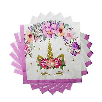 Girl Birthday Party Pink Unicorn Paper Plate Cup Napkin Disposable Tableware