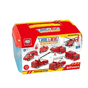 Children's fire truck DIY toy