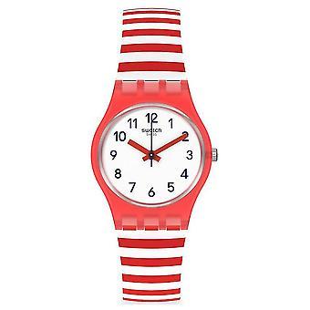 スウォッチLr135ブルーボート赤と白の縞模様のシリコーン腕時計