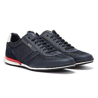 BOSS Saturn Low Mesh Mens Navy / Red Trainers