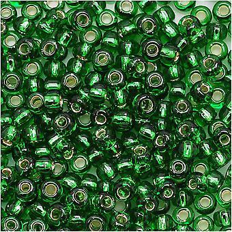 Toho Round Seed Beads 8/0 27B 'Silver Lined Grass Green' Tubo de 8 Gram