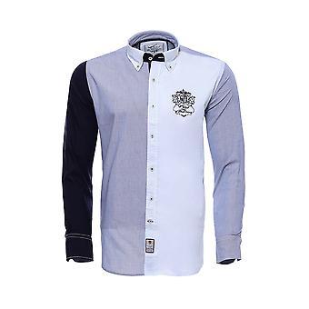 Desenli armalı beyaz mavi slim fit gömlek