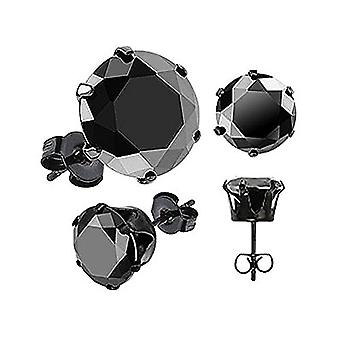 1 pair of stainless steel unisex earrings, with transparent black crystal and stainless steel, color: schwarz-rund 9 mm, Ref. 4058433003156