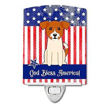Caroline s Schätze patriotischen Usa Jack Russell Terrier Keramik Nachtlicht, 6 x 4, Multicolor
