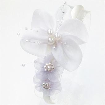 Mädchen Mode Kopf Reifen Perle große Chiffon Blume Stirnband