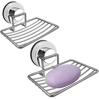 2pcs Suction Cup Soap Dish,sponge Holder For Bathroom And Kitchen