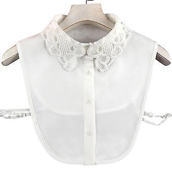 אנטי קמט חצי חולצות רקמה ליידי צווארון שווא פרחוני חלול חולצה נתיקה