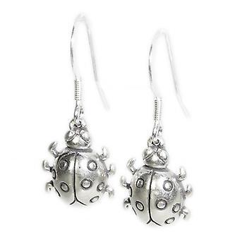 Marienkäfer Sterling Silber Tropfen Ohrringe .925 X 1 Paar Marienkäfer Marienkäfer Tropfen - 15388