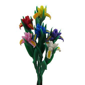 Nukkekoti 6 Iris kukkia varret Miniatyyri Puutarha Maljakko Lisävaruste 1:12