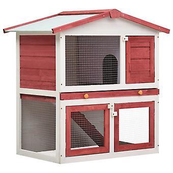 vidaXL konijnenhok 3 deuren rood hout