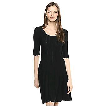 Brand - Lark & Ro Women's Matisse Half Sleeve Flared Dress, Black, X-Large
