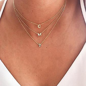 Gs 925 الفضة الاسترليني قلادة الرسالة الأولية قلادة للنساء فتاة a-z الأبجدية الياقات موجير هدايا عيد الميلاد المجوهرات الجميلة