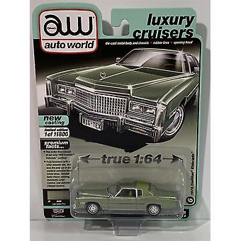 1975 Cadillac Eldorado Lido Green Poly 1:64 Scale Auto World 64282A