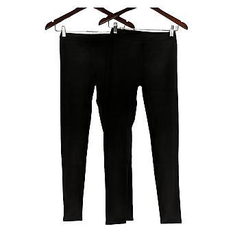 Cuddl Duds Leggings Set Of 2 Fleecewear Stretch Pull On Black A369295
