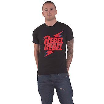 David Bowie T Skjorte Rebel Rebel Logo Ny Offisiell Mens Black